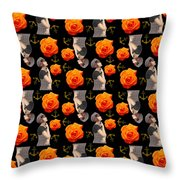 Girl With Roses And Anchors Black Throw Pillow