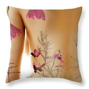 Girl With Spring Tattoo Throw Pillow
