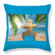 Girl With Summer Hat Throw Pillow