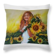 Girl With Sunflowers Throw Pillow