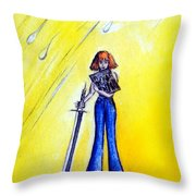 Girl With Sword. Astral Traveler Throw Pillow