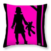 Girl With Ted Throw Pillow