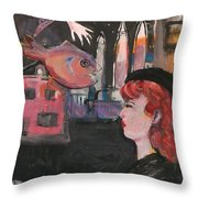 Girl With The Black Beret Throw Pillow