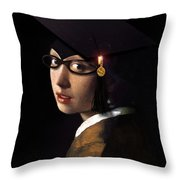 Girl With The Grad Cap Throw Pillow