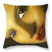 Girl With The Pearl Earring Close Up Throw Pillow