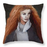 Girl With The Red Hair Throw Pillow