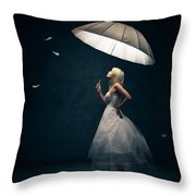 Girl With Umbrella And Falling Feathers Throw Pillow