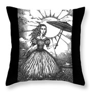 Girl With Umbrella Throw Pillow
