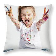 Girl With Victory Sign Sticking Out Her Tounge Throw Pillow