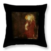 Girl With Yellow Flower Throw Pillow by Delight Worthyn