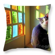 Girlie Goes To Church Throw Pillow