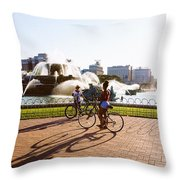 Girls At The Fountain Throw Pillow