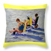 Girls Day At  The Beach Throw Pillow