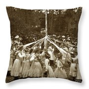 Girls  Doing The Maypole Dance Pacific Grove Circa 1890 Throw Pillow