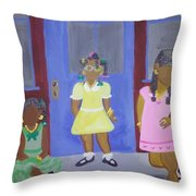 Girl's Dreaming Of Being Women Throw Pillow
