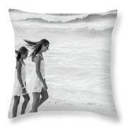 Girls On Beach Throw Pillow
