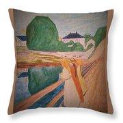 Girls On The Bridge Throw Pillow