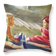 Girls Playing Ball  Throw Pillow