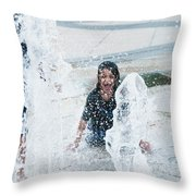 Girls Playing In Fountain  Throw Pillow