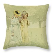 Girls Strolling In An Orchard Throw Pillow