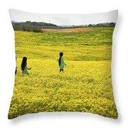 Girls Walking In The Field Throw Pillow