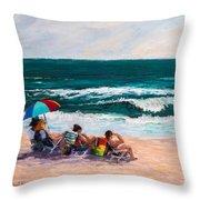 Girsl On The Beach Throw Pillow