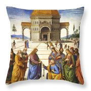 Giving Of The Keys To Saint Peter Throw Pillow