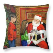 Giving The List To Santa Throw Pillow