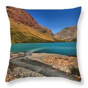 Glacier Cracker Lake Throw Pillow