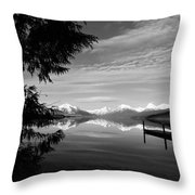 Glacier In Black And White Throw Pillow