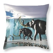Glacier Mammoths Throw Pillow
