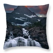 Glacier Morning Waterfall And Moonset Throw Pillow