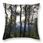 Glacier National Park Green Trees Mountains Throw Pillow