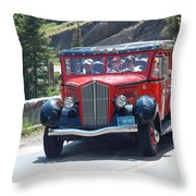 Glacier Red Bus Throw Pillow