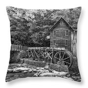 Glade Creek Grist Mill 2 Bw Throw Pillow