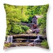 Glade Creek Grist Mill 3 - Paint Throw Pillow