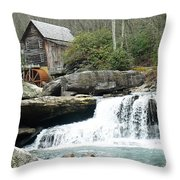 Glade Creek Grist Mill In Color Throw Pillow