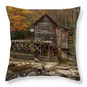 Glade Grist Mill In Autumn Throw Pillow by Ola Allen