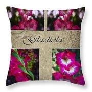 Gladiola Collage Throw Pillow