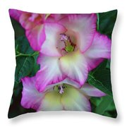 Gladiolas Blooming With Ripening Blueberries Throw Pillow