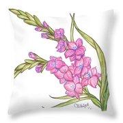 Gladiolus Pink Throw Pillow