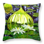 Glass Among The Lilies Throw Pillow