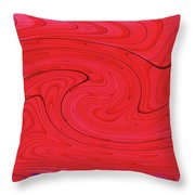 Glass And Steel Building Red Abstract Throw Pillow