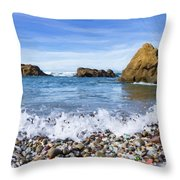 Glass Beach, Fort Bragg California Throw Pillow