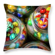 Glass Marbles In Containers Throw Pillow