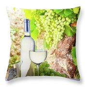 White Wine In Vineyard Throw Pillow