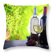 Enjoying Wine Throw Pillow