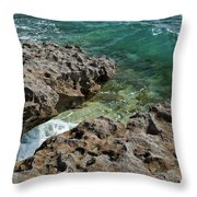 Glass Wave Blowing Rocks Preserve Jupiter Island Florida Throw Pillow