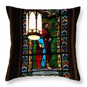 Glass Window Of Saint Philip In The Basilica In Santa Fe  Throw Pillow