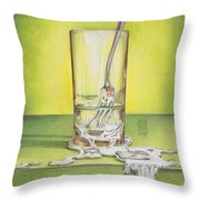 Glass With Melting Fork Throw Pillow